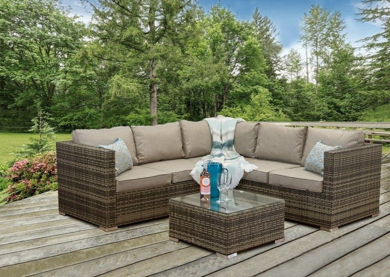 Oryana 5 Seater Rattan Corner Sofa Set, Hashtag Home Rattan Garden Furniture, Brown Rattan Corner Sofa, Brown Rattan Garden Furniture
