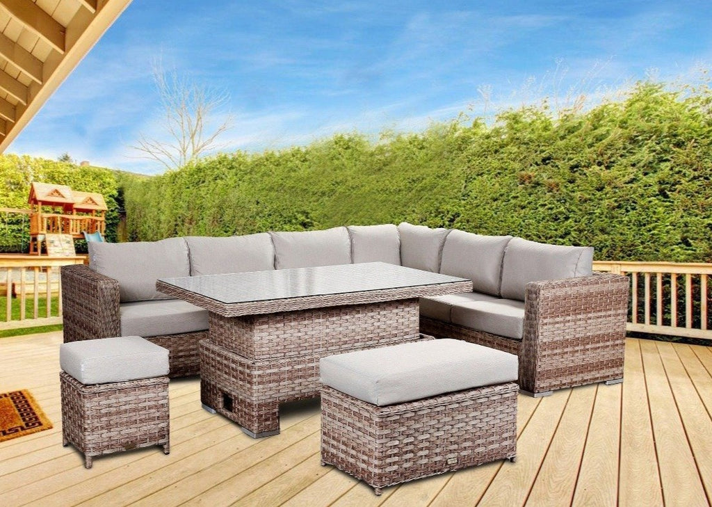 'Buckingham' 8 Seater Brown Corner Sofa Rattan Dining Set With Natural Cushions