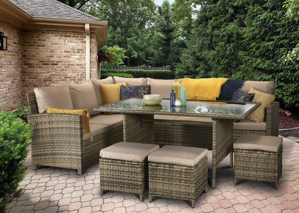 Charlotte Brown Rattan Corner Sofa Outdoor Garden Furniture Dining Table Set