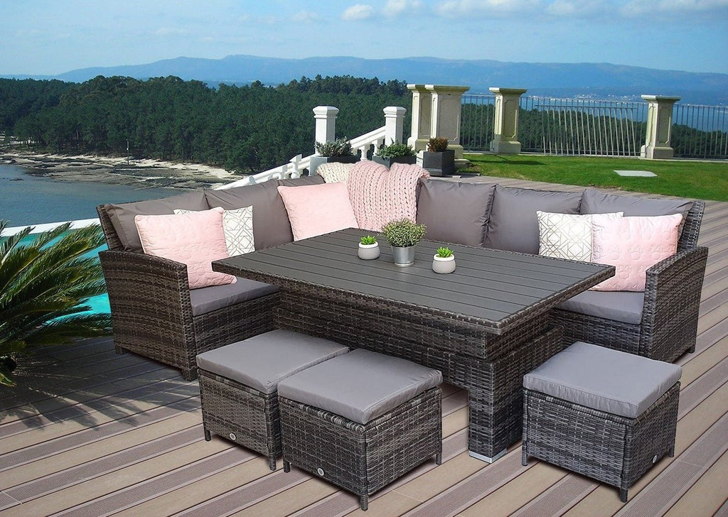 Charlotte Grey Rattan Corner Sofa Garden Furniture Adjustable Dining Table Set