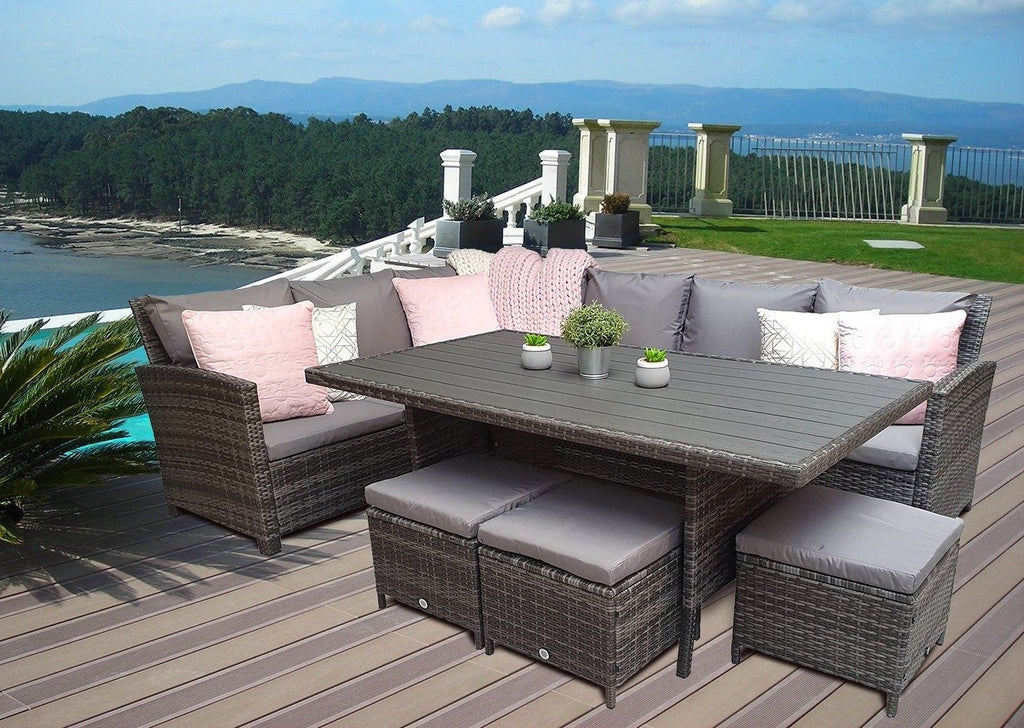 Charlotte Grey Rattan Corner Sofa Garden Furniture Dining Table Set