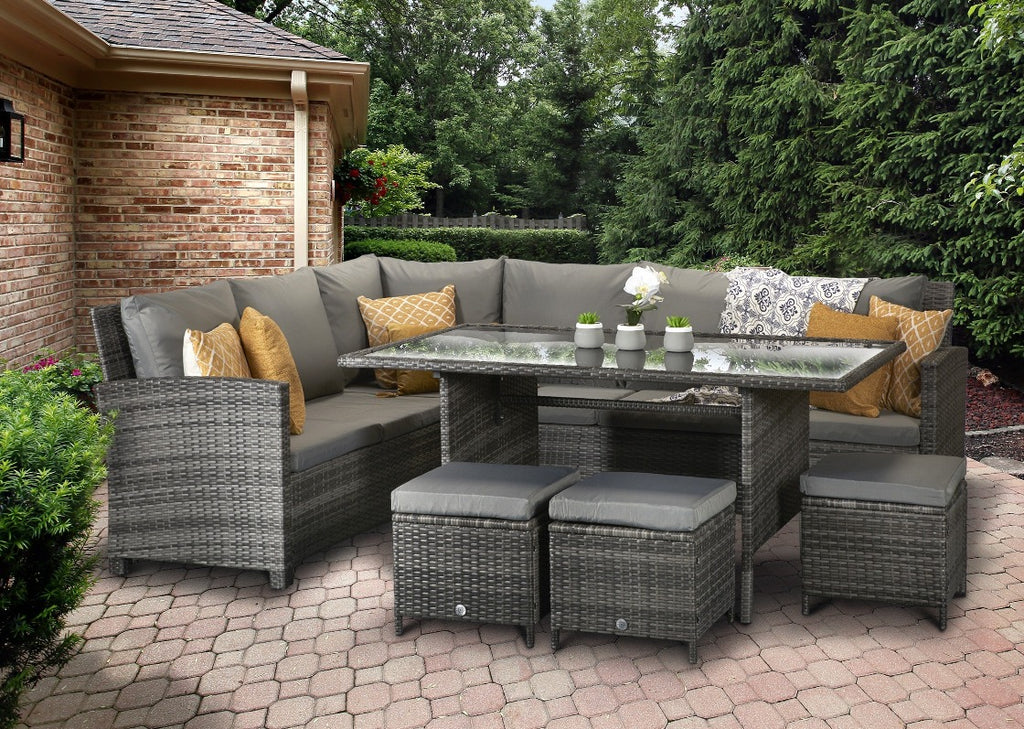 Charlotte Grey Rattan Corner Sofa Outdoor Garden Furniture Dining Table Set