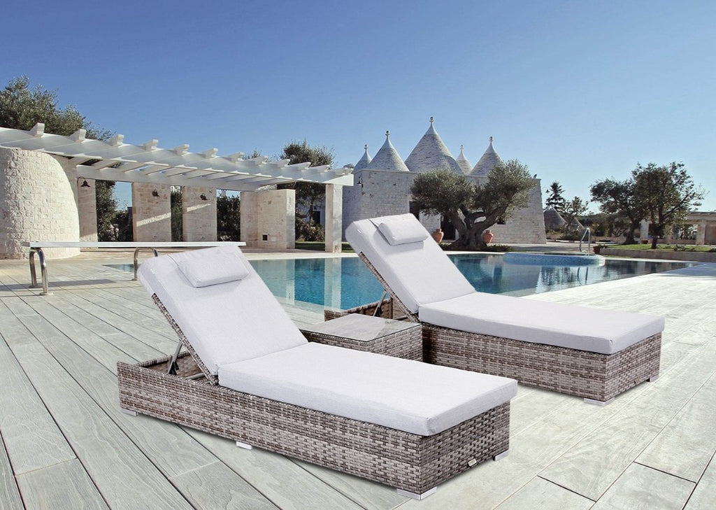 'St Ives' Grey Rattan Multi Position Pair Sun Loungers Set With Side Table