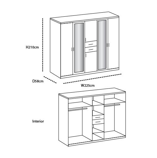 SlumberHaus Diver Modern White, Black and Mirror 225cm Wardrobe with Drawers