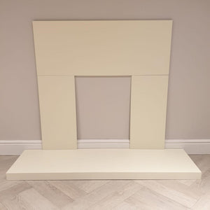 Fireplace Back Panel & Hearth Set in Cream Electric Fire Surround 48 inch