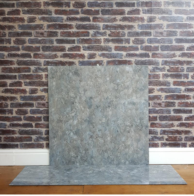 White Grey Cream Marble Effect HPL Laminate Fireplace Back Panel & Hearth