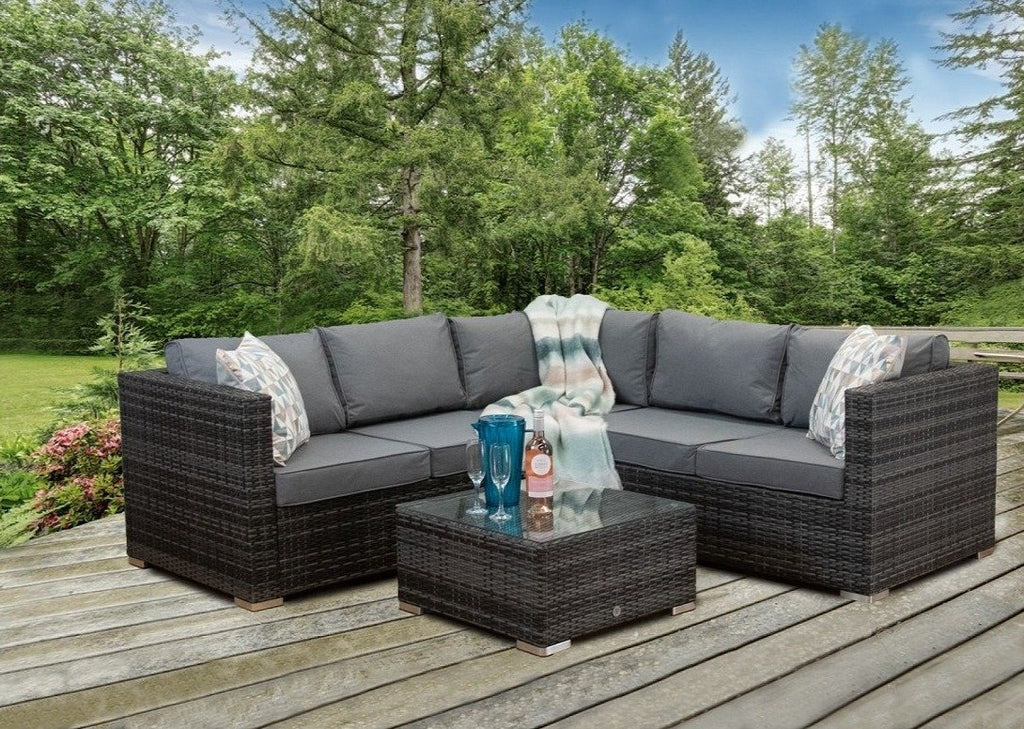 Oryana 5 Seater Rattan Corner Sofa Set, Grey Rattan Garden Furniture, Hashtag Home Rattan Set, Grey Rattan Corner Sofa, Outdoor Corner Sofa