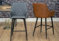 Grey and Tan Leather Industrial Kitchen Breakfast Bar Stools