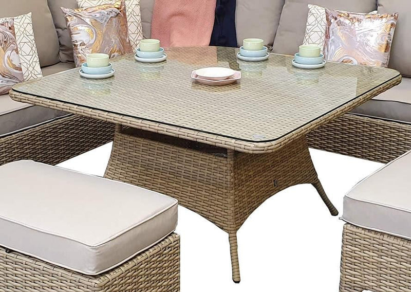 'Sorrento' Corner 8-9 Seater Dining Set In Natural With Beige Cushions