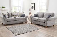 silver grey sofa 3 seater 2 seater fixed back scatter back