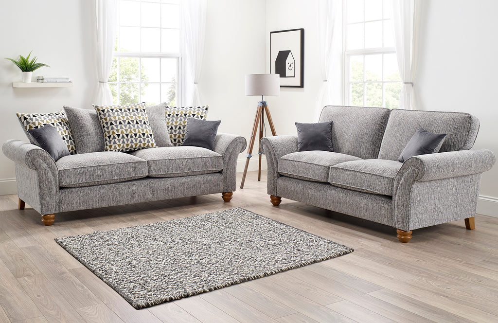 silver grey 2 seater sofa with scatter fixed back oak feet scroll arms