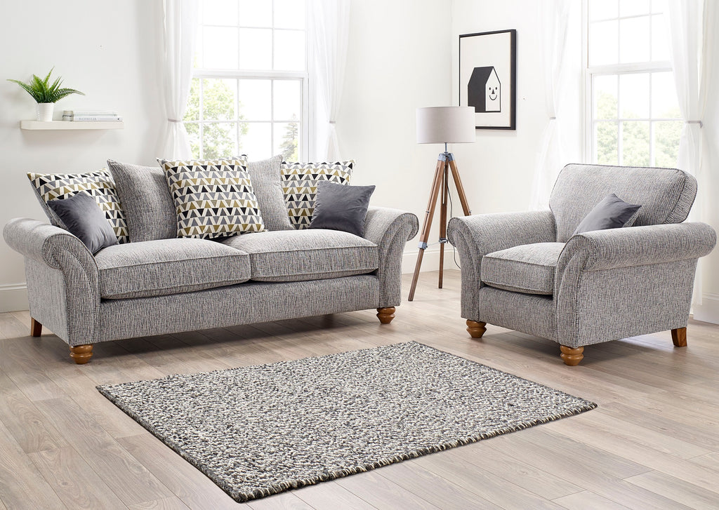 silver grey 2 seater sofa uk made scatter back