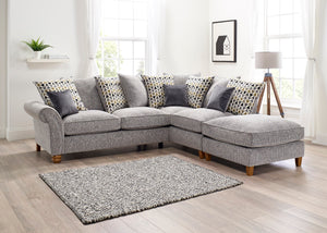 silver grey chaise footstool corner sofa with scatter back cushions