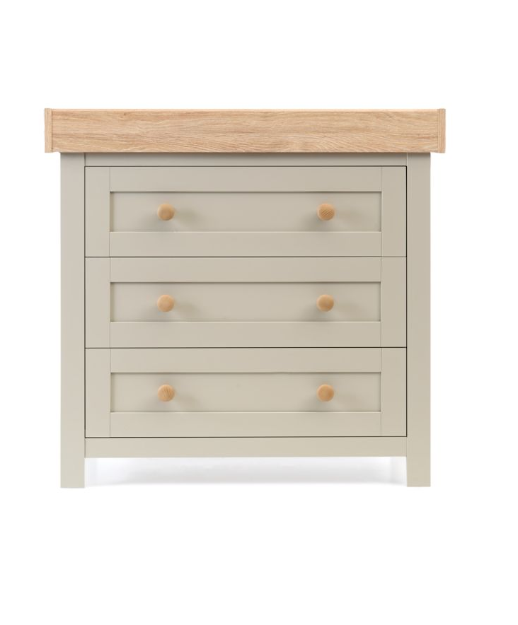 Mothercare Lulworth Grey & Oak 3 Drawer Baby Changing Unit Chest of Drawer