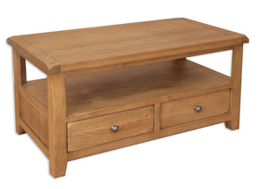 solid oak coffee table tv unit 2 draws shelf