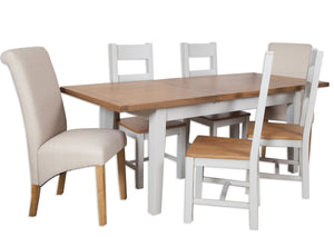 extending grey painted solid oak dining table dining room butterfly extension 1.2m