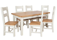 solid oak extending dining table painted ivory cream butterfly extender 1.6m