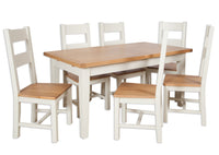 painted ivory cream slid oak extending dining table 1.6m butterfly extension