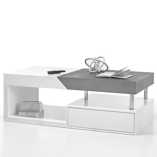 ModaNuvo 'Hope' Modern White & Grey Extending Storage Coffee Table With Drawer