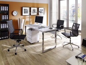 ModaNuvo Computer Home Office Desk Workstation White High Gloss & Chrome Leg