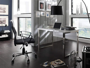 ModaNuvo Computer Home Office Desk Workstation White High Gloss & Chrome LegModaNuvo Computer Home Office Desk Workstation White High Gloss & Chrome LegModaNuvo Computer Home Office Desk Workstation White High Gloss & Chrome Leg