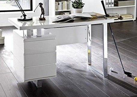 ModaNuvo Computer Office Desk Full White High Gloss & Chrome with Drawers
