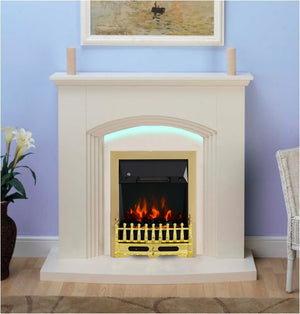 Modern Cream Flat Wall 2KW Electric Fire Surround Set Complete Fireplace with LED Light- With Brass Fire
