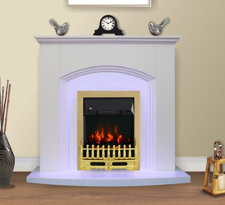 Modern White Inset Electric Fire Surround Set Complete Fireplace Package Suite- with Brass Fire