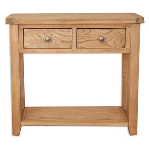 Oakwood Living Country Oak 2 Draw Console Table 90 x 30 x 82 cm