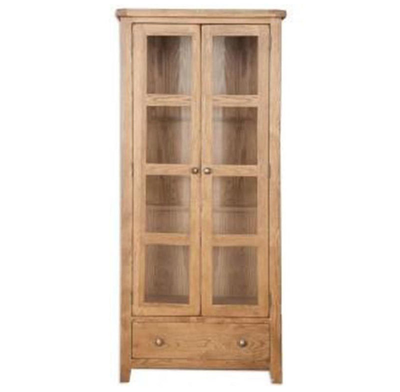 Oakwood Living Country Oak Glazed Display Cabinet 88 x 37 x 193.5 cm