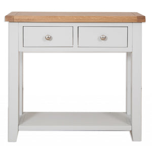 solid oak grey painted 2 draw console table hallway living room cabinet storage furniture