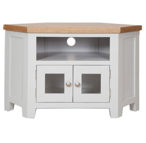 Oakwood Living Grey Painted Oak Glazed TV Cabinet 105 x 55 x 65 cm