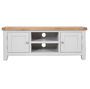 Oakwood Living Grey Painted Oak Plasma TV Unit 134 x 45 x 50 cm