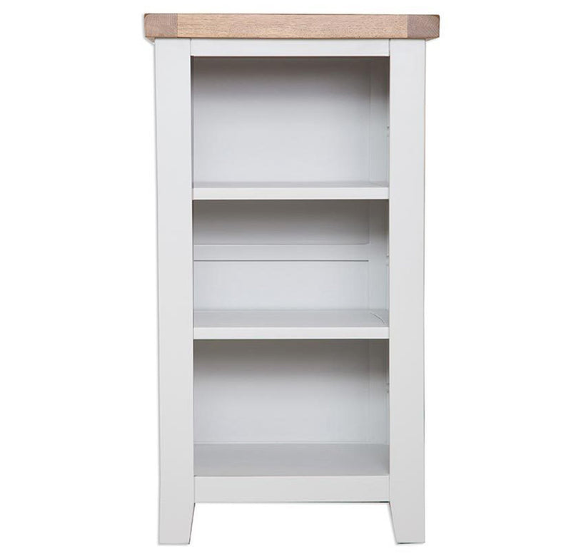 Oakwood Living Grey Painted Oak Small Bookcase/DVD Rack 99 x 46 x 81 cm