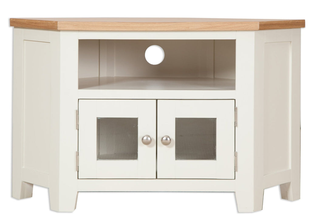tv unit solid oak painted ivory natural glass doors storage shelf