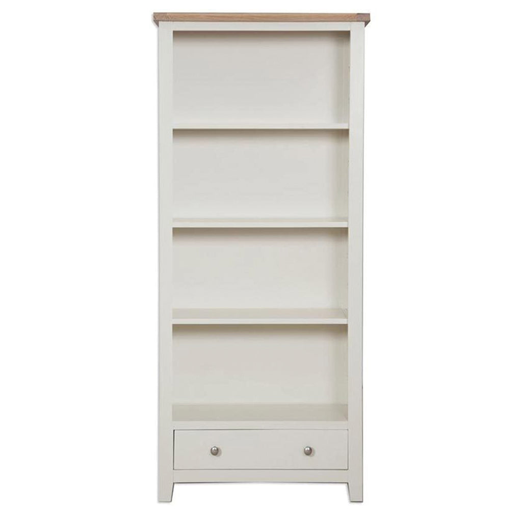Oakwood Living Ivory Painted Oak Large Bookcase 90 x 32 x 180 cm