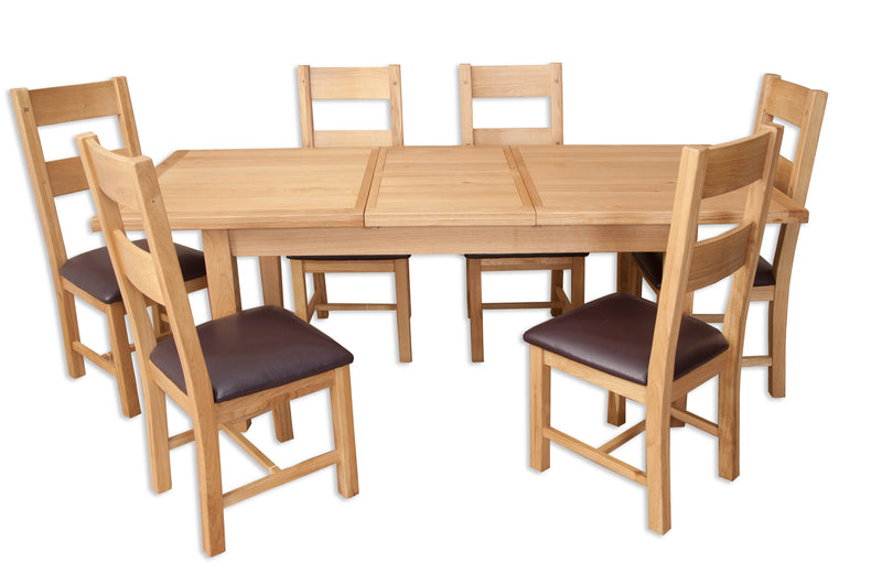 solid natural oak light oak dining table butterfly extension seats 6