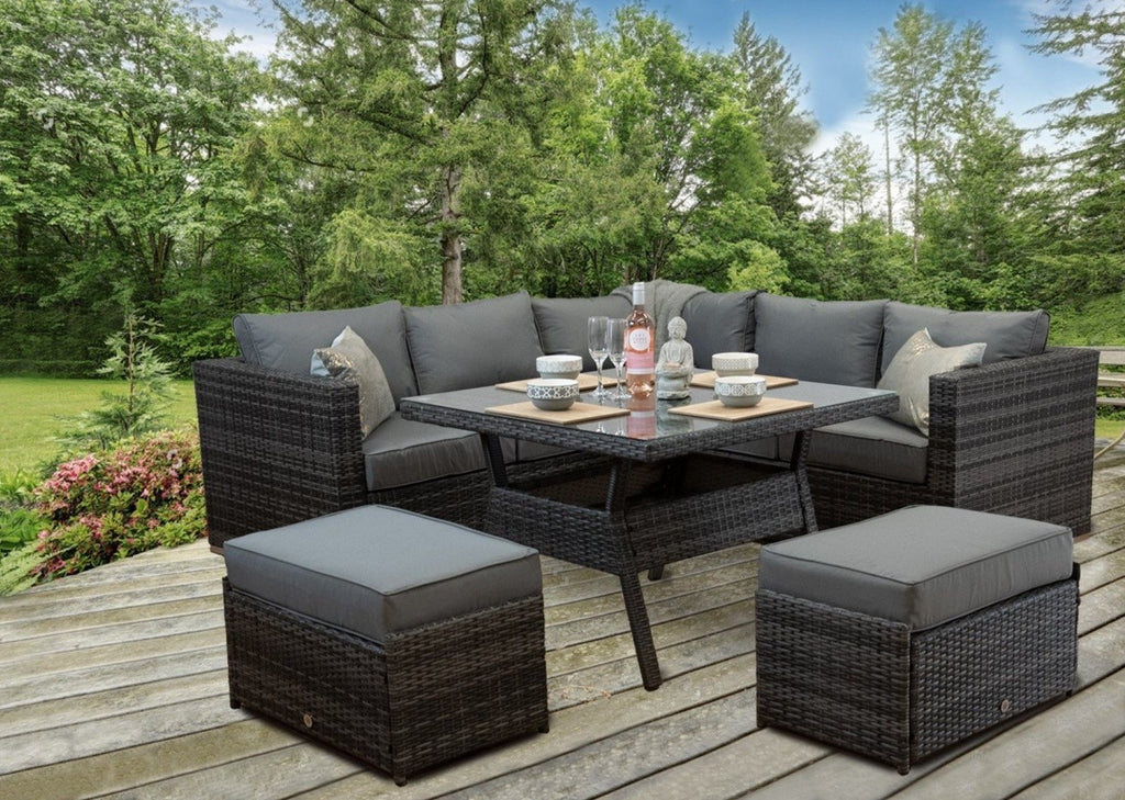 Rattan Patio Outdoor Garden Corner Sofa Dining Table Chairs Set Aluminuim