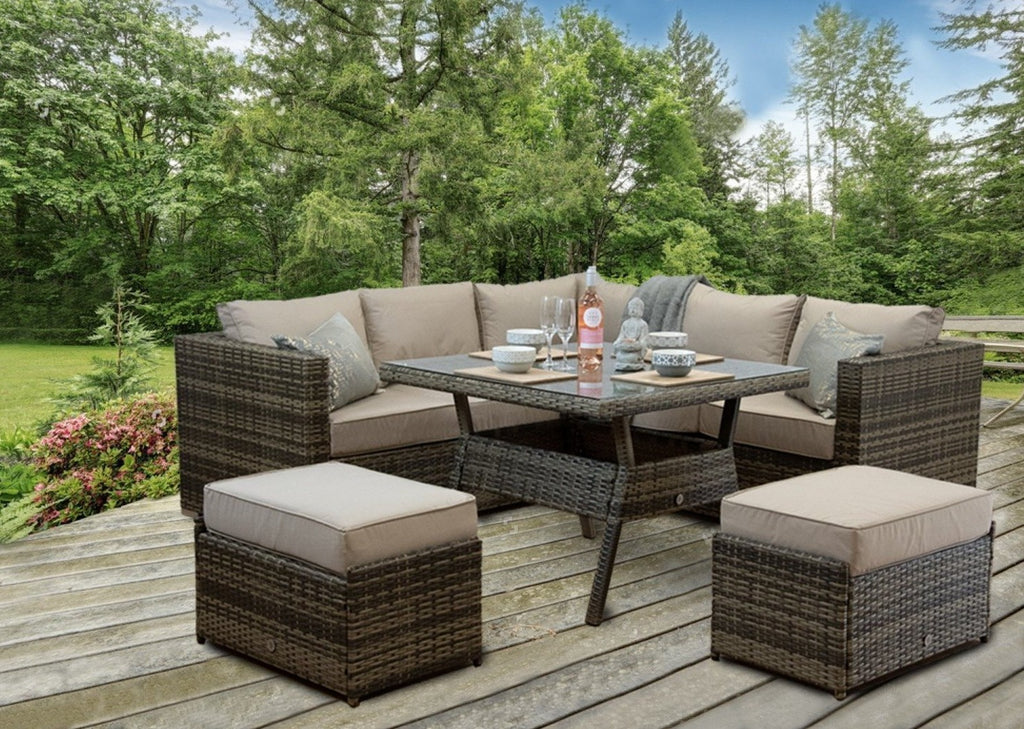 Maze Rattan, Nova Rattan, Georgia Rattan, Club RattanCasa Giardino Outdoor Rattan Garden Furniture, Brown Rattan Corner Sofa, Brown Rattan Garden Furniture Set