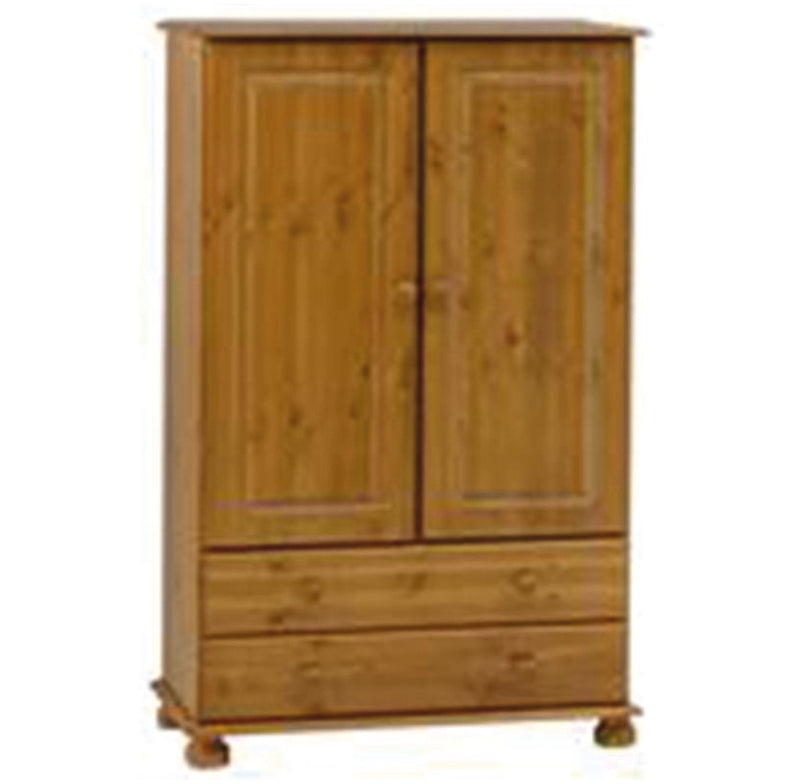 Richmond 2 Door 2 Drawer Short Low Tallboy Wardrobe - Pine
