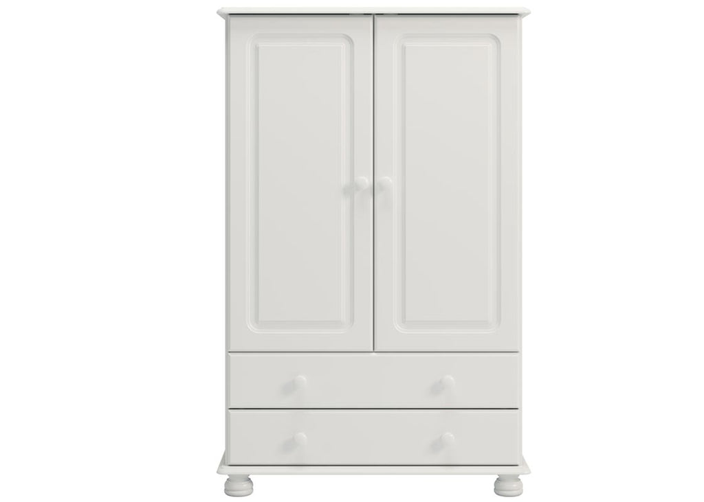 Richmond 2 Door 2 Drawer Short Low Tallboy Wardrobe - White