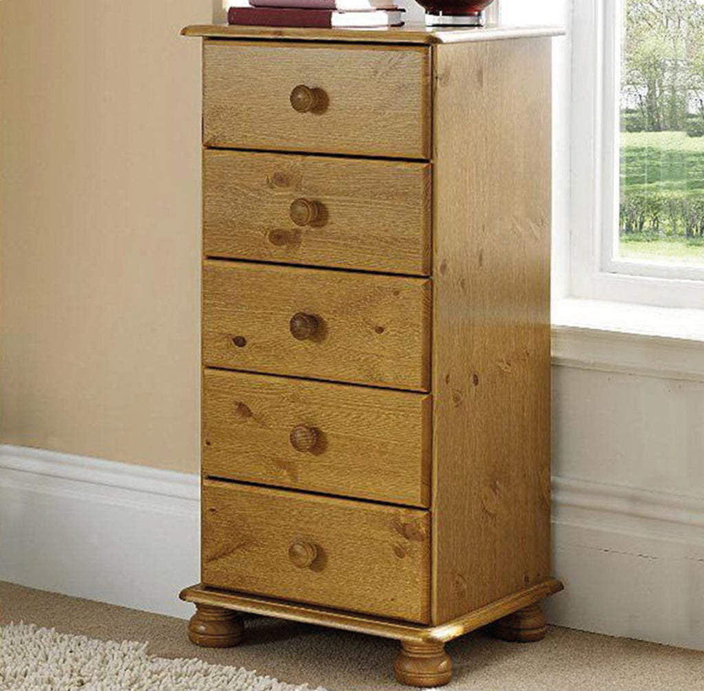 Richmond 5 Drawer Narrow Chest Pine