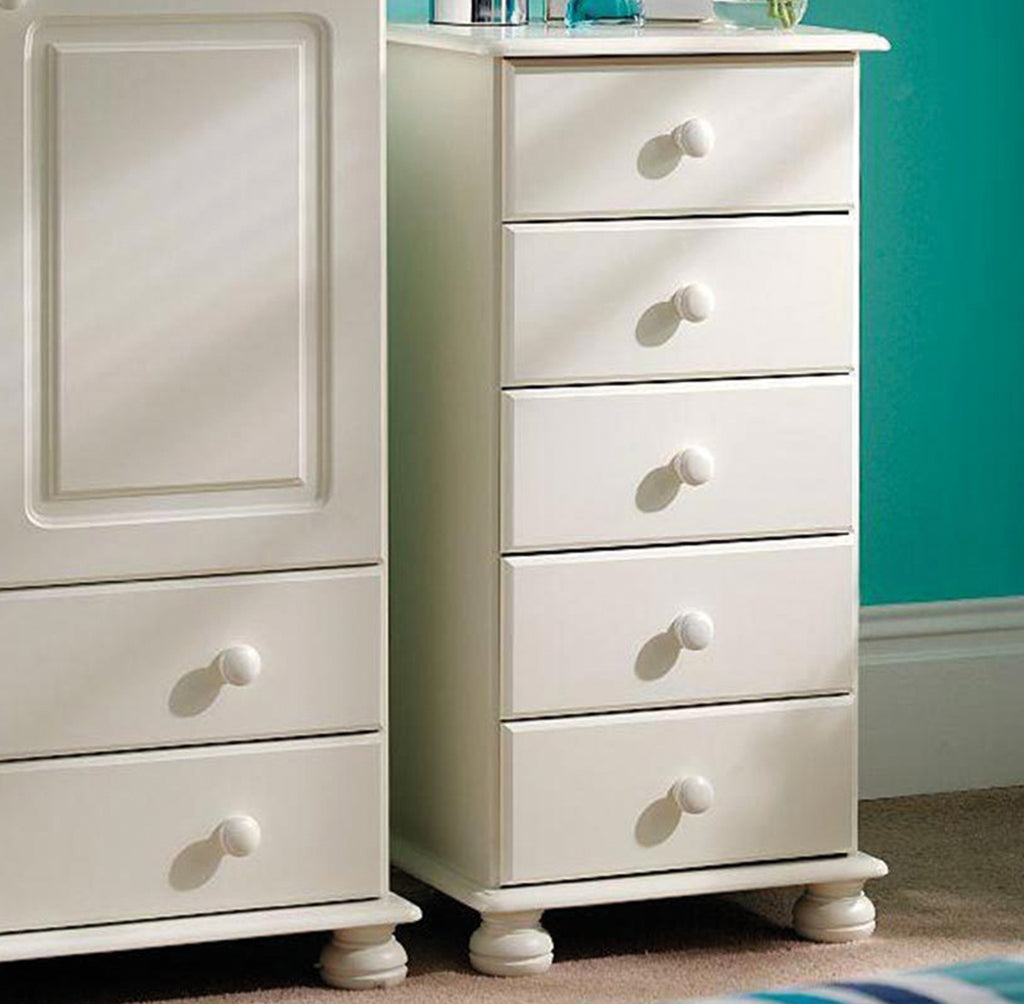 Richmond 5 Drawer Narrow Chest White