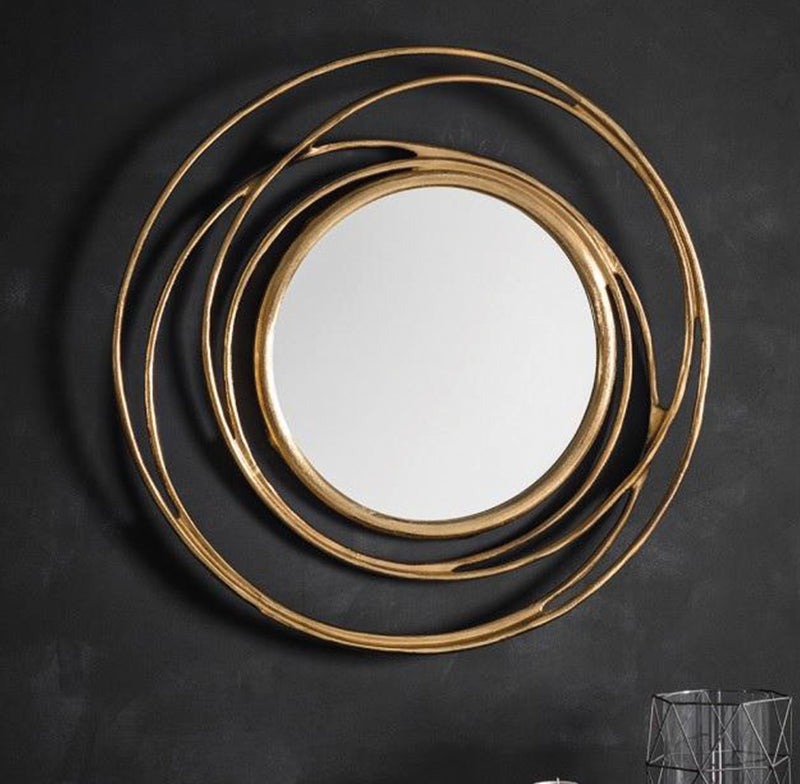 Round Swirl Wall Mirror Satin Gold