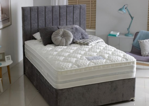 Pocket Sprung Memory Foam Grey divan bed base and mattress package,  head board, Divan Bed and Mattress Shop Showroom Dudley, Stourbridge West Midlands