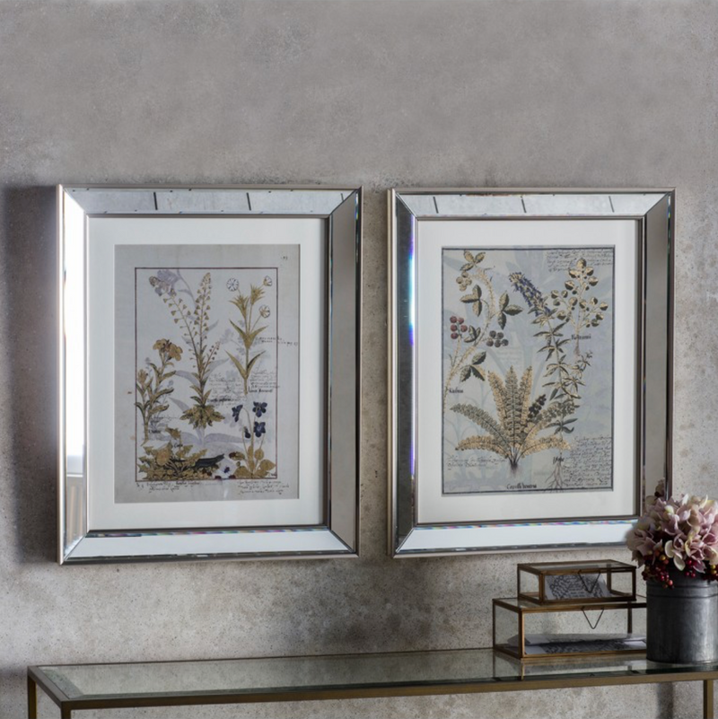 floral botanical wall art with bevelled mirror frame
