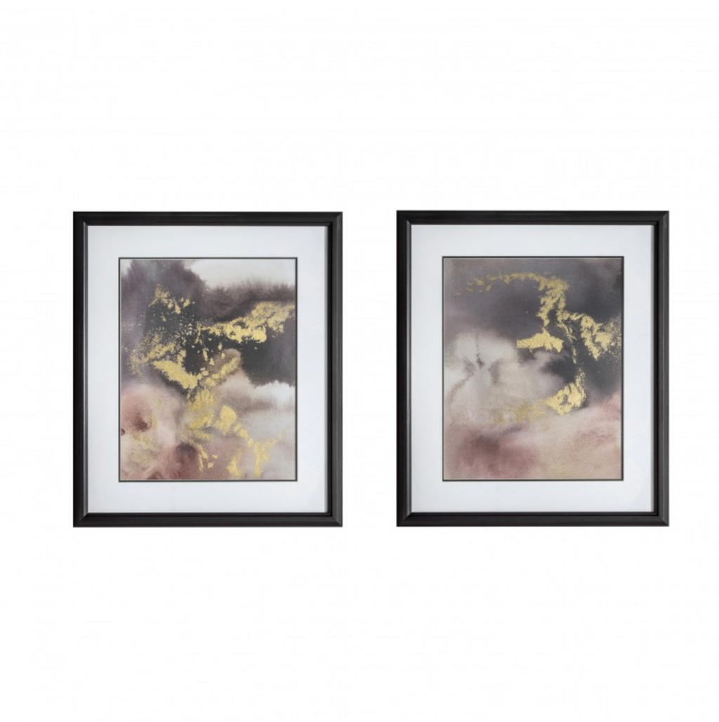 gold leaf purple watercolour prints with bold black frame wall art
