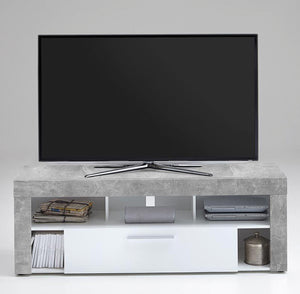 SlumberHaus Urban White Grey Stone Concrete Media TV Unit Cabinet with 1 Drawer