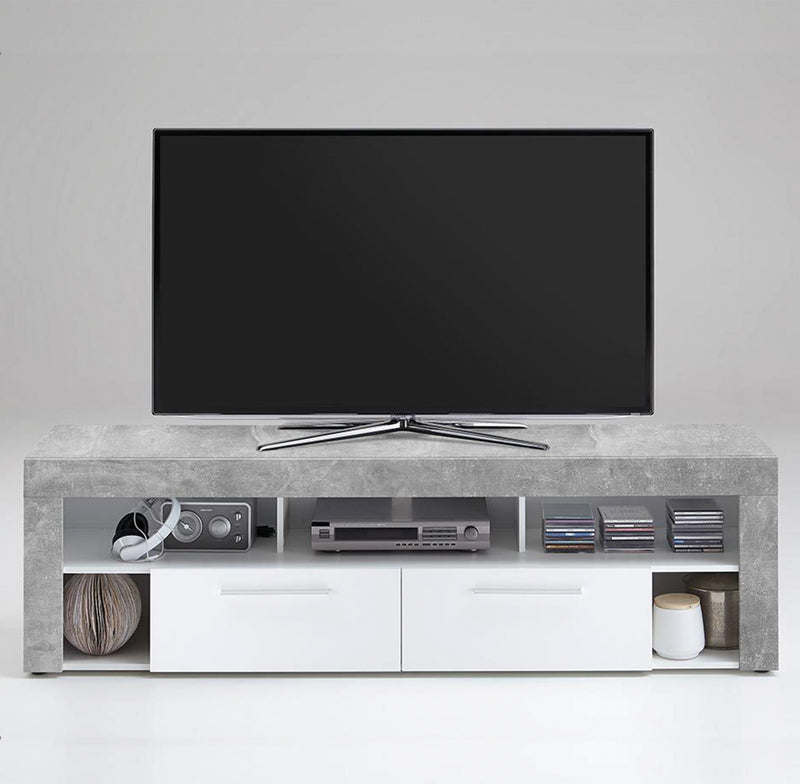 SlumberHaus Urban White Grey Stone Concrete Media TV Unit Cabinet with 2 Drawer