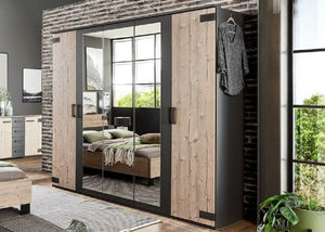 SlumberHaus German Rustic Oak Graphite Grey Industrial 5 Door Mirror Wardrobe